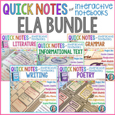 Quick Notes: ELA BUNDLE for Interactive Notebooks