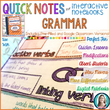 Quick Notes: GRAMMAR (Anchor Charts for Interactive Notebooks)