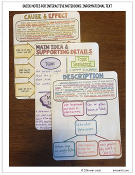 Quick Notes: INFORMATIONAL TEXT (Anchor Charts for Interactive Notebooks)