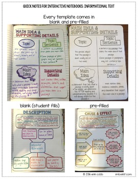 Quick Notes: INFORMATIONAL TEXT (ELA Doodle Notes for Interactive Notebooks)