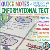 Quick Notes®: INFORMATIONAL TEXT for Interactive Notebooks