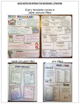 Quick Notes: LITERATURE (Anchor Charts for Interactive Notebooks)