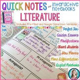 Quick Notes®: LITERATURE for Interactive Notebooks