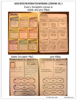 Quick Notes: LITERATURE, Vol. 2 Add-On (Anchor Charts for Interactive Notebooks)