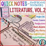 Quick Notes: LITERATURE, Vol. 2 (ELA Doodle Notes for Inte