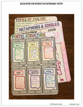 Quick Notes: POETRY (ELA Doodle Notes for Interactive Notebooks)