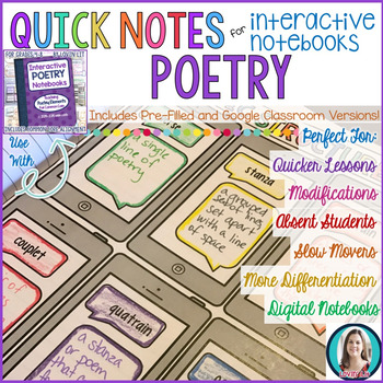 Quick Notes: POETRY (Anchor Charts for Interactive Notebooks)