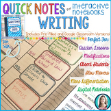 Quick Notes: WRITING (Anchor Charts for Interactive Notebooks)