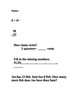 Quick Number Sense Assessment