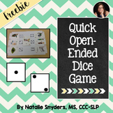 Quick Open Ended Dice Game for Speech-Language Therapy & C
