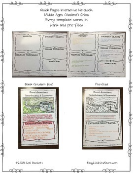 Quick Pages: Middle Ages China (Anchor Charts for Interactive Notebooks)