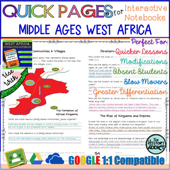 Quick Pages: Middle Ages West Africa (Anchor Charts for Interactive Notebooks)