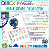Quick Pages: Middle Grade Geography  (Anchor Charts for Interactive Notebooks)