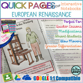 Quick Pages: Renaissance Era (Anchor Charts for Interactive Notebooks)