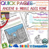 Quick Pages: Ancient/Middle Ages Rome (Anchor Charts for Interactive Notebooks)