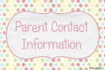 Quick Parent Contact Reference