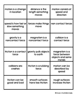 Quick Phrases for Science Fluency: Force and Motion