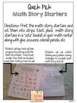 Quick Pick Math Story Starters