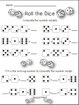 Quick Prep!  Roll the Dice Game ~ No Prep!  Worksheets