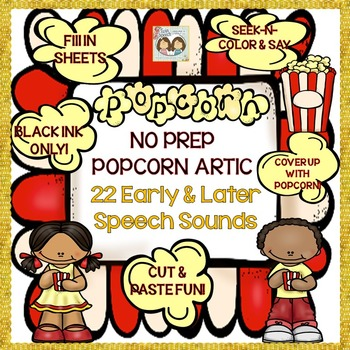 Speech Therapy: NO PREP Popcorn Articulation: 22 Early & Later Speech Sounds!