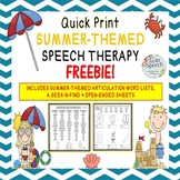 Summer-Themed Speech Therapy FREEBIE: Articulation Lists, Open-ended Sheets