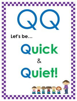 Quick & Quiet (Hallway and Bathroom Behavior Poster)