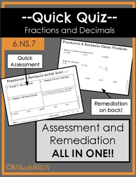 Quick Quiz-Assessment AND Remediation- Fractions and Decimals -