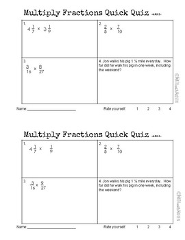 Quick Quiz-Assessment AND Remediation- Multiply Fractions - 6.NS.1