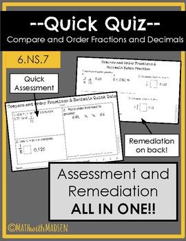 Quick Quiz-Assessment & Remediation- Compare/Order Fractions & Decimals - 6.NS.7
