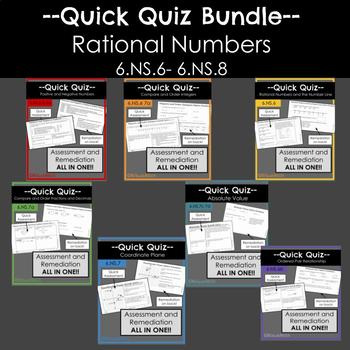 Quick Quiz Bundle- Rational Numbers- 6.NS.6-7