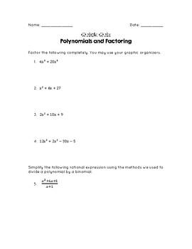 Quick Quiz: Polynomials & Factoring