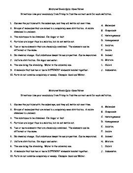 Quick Quiz on Pure Substances and Mixtures Vocab