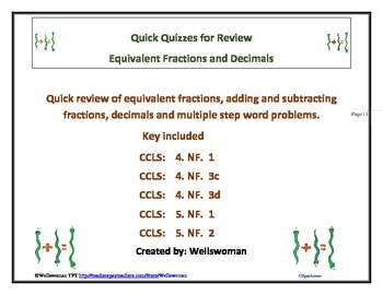 Quick Quizzes for Equivalent Fractions and Add/Sub Fractions