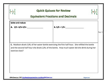 Quick Quizzes for Review Equivalent Fractions and Decimals