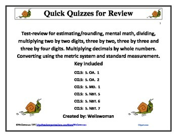 Quick Quizzes for Review Multiple Concepts