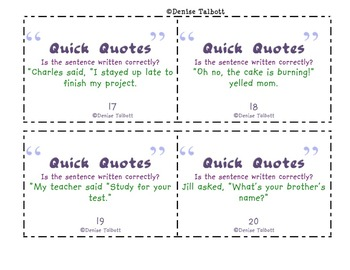 Quotation Marks Task Cards