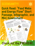 """Quick Read: """"Food Webs and Energy Flow"""" Passage and Mini Q"""