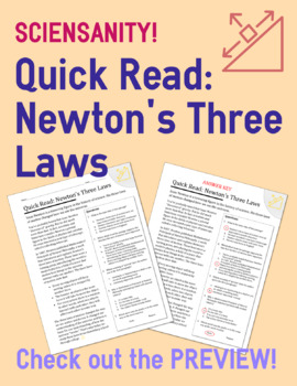 Quick Read: Newton's Three Laws | Passage and Questions | Student Reading Check