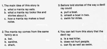 Animal MANTA RAY FISH Info Text w/ 4 Multiple Choice Reading Comprehension Qs