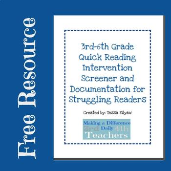 Quick Reading Intervention Screening and Documentation