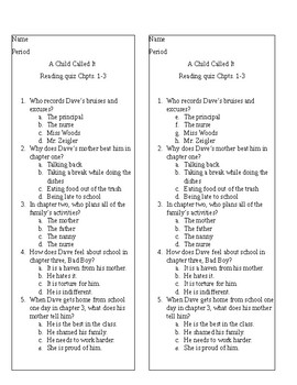 Quick Reading Quiz for A Child Called It