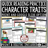 Quick Reading Comprehension: Digital Character Traits Passages for Google Slides