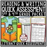 Literacy Assessment 3rd Grade & 4th Grade Test Prep ELA