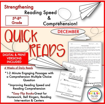 Quick Reads {December}-Passages, Reading Comprehension, Reading Intervention