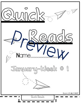 Quick Reads {January}-Passages, Reading Comprehension, Reading Intervention