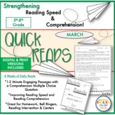 Quick Reads {March}-Passages, Reading Comprehension, Readi