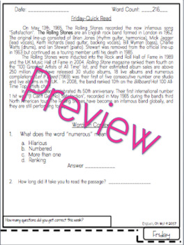 Quick Reads {May}-Passages, Reading Comprehension, Reading Intervention