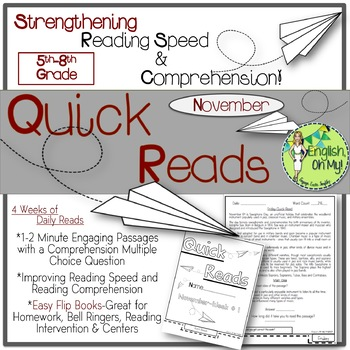 Quick Reads {November}-Passages, Reading Comprehension, Reading Intervention