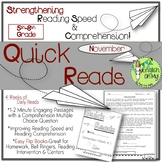 Quick Reads {November}-Passages, Reading Comprehension, Re