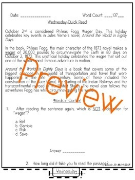 Quick Reads {October}-Passages, Reading Comprehension, Reading Intervention